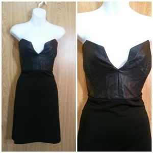 L-NWT Black plunging faux leather party dress